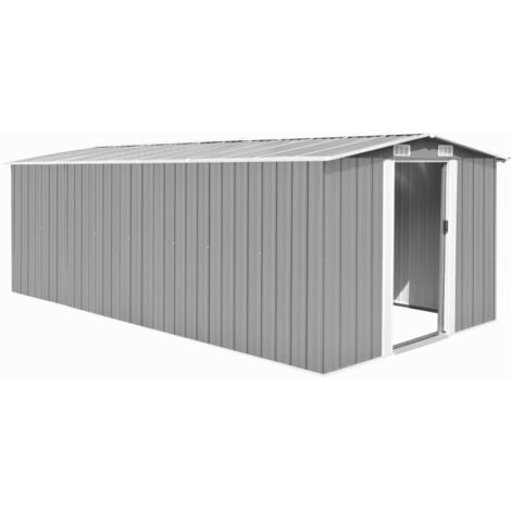 Garden Shed 257x497x178 cm Metal Grey - Grey