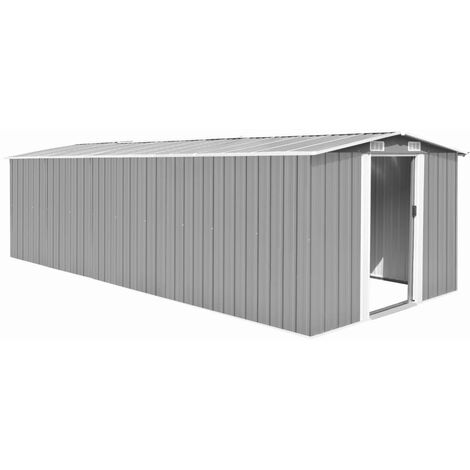 Garden Shed 257x597x178 cm Metal Grey - Grey