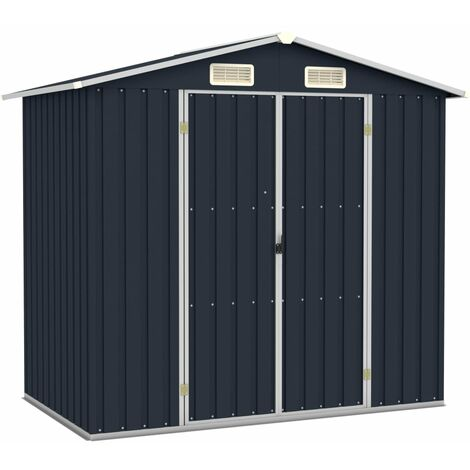 Garden Shed Anthracite 205x129x183 cm Galvanised Steel - Anthracite