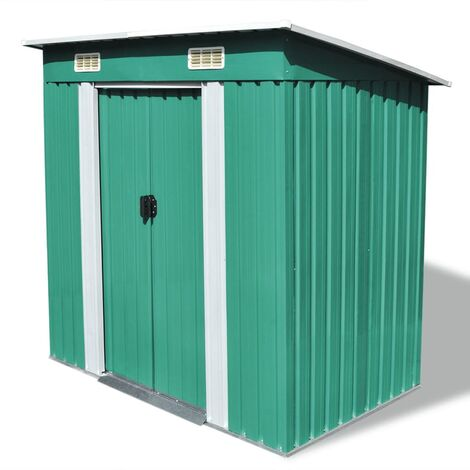 Garden Shed Green Metal
