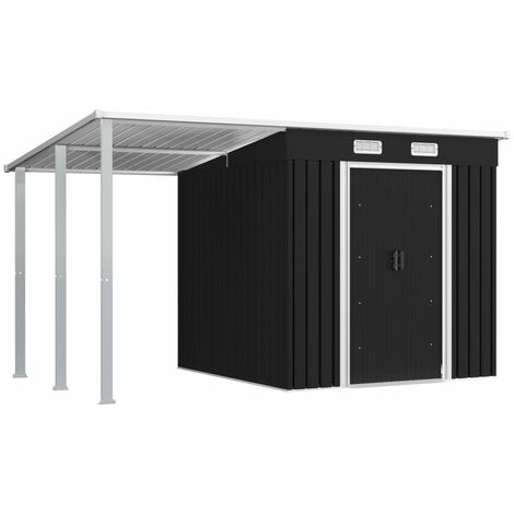 Garden Shed with Extended Roof Anthracite 346x193x181 cm Steel