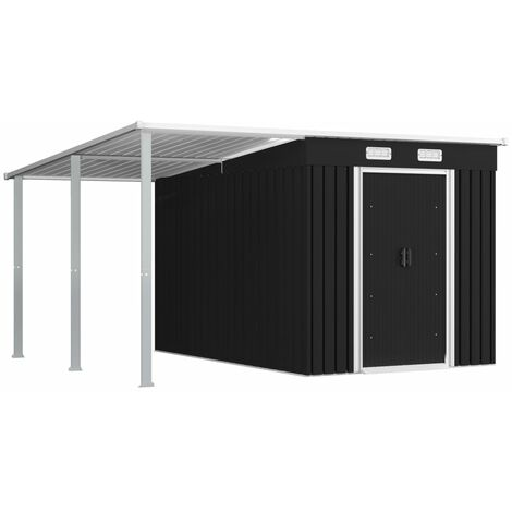 Garden Shed with Extended Roof Anthracite 335x278x184 cm Steel