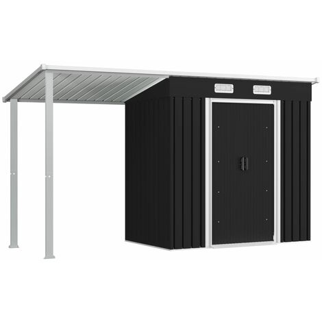 Garden Shed with Extended Roof Anthracite 346x121x181 cm Steel