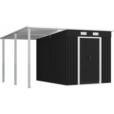 Garden Shed with Extended Roof Anthracite 346x236x181 cm Steel
