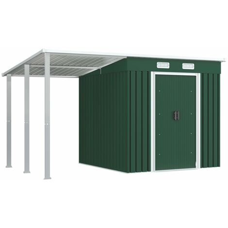 Garden Shed with Extended Roof Green 335x193x184 cm Steel