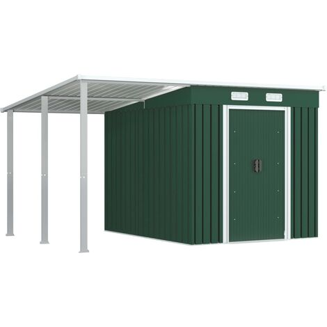 Garden Shed with Extended Roof Green 335x236x184 cm Steel