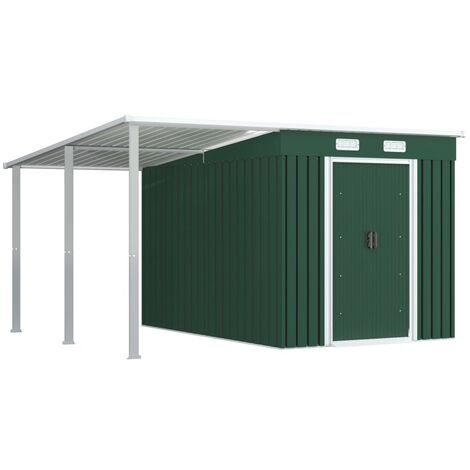 Garden Shed with Extended Roof Green 335x278x184 cm Steel