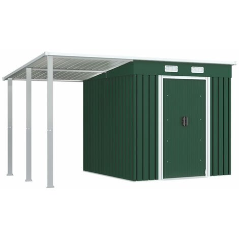 Garden Shed with Extended Roof Green 346x193x181 cm Steel