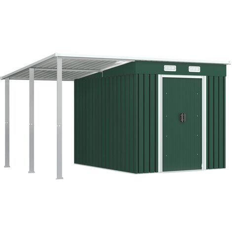 Garden Shed with Extended Roof Green 346x236x181 cm Steel