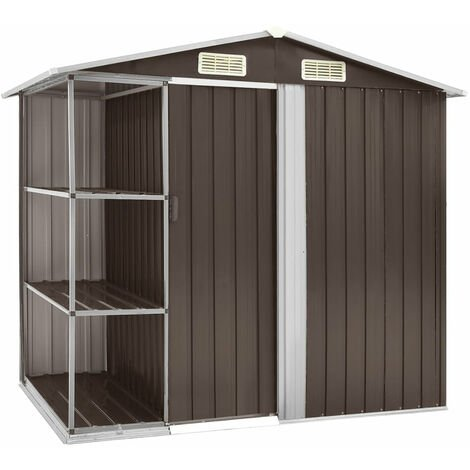 Garden Shed with Rack Brown 205x130x183 cm Iron
