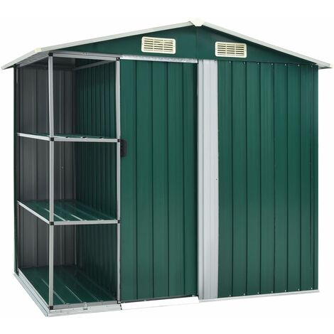 Garden Shed with Rack Green 205x130x183 cm Iron - Green