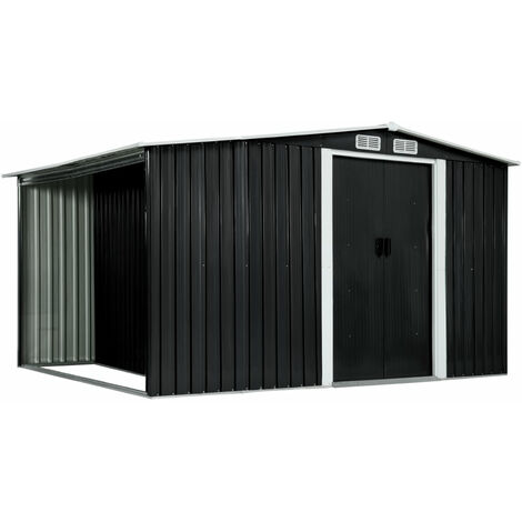 Garden Shed with Sliding Doors Anthracite 329.5x131x178 cm Steel