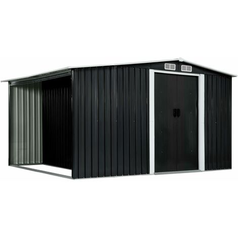 Garden Shed with Sliding Doors Anthracite 329.5x205x178 cm Steel
