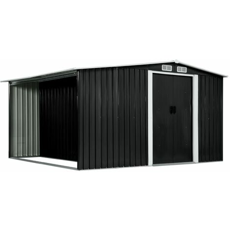 Garden Shed with Sliding Doors Anthracite 329.5x312x178 cm Steel
