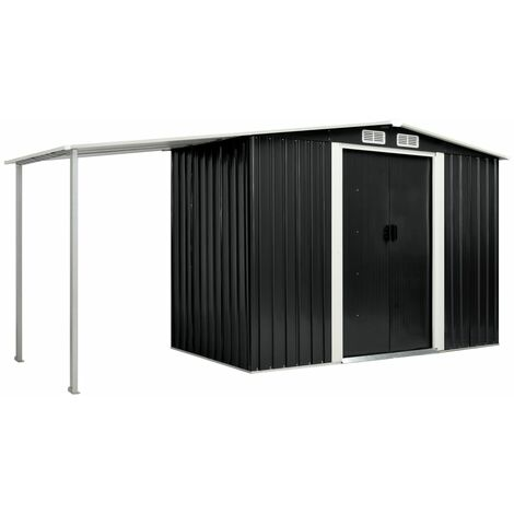 Garden Shed with Sliding Doors Anthracite 386x131x178 cm Steel
