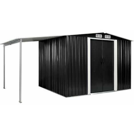 Garden Shed with Sliding Doors Anthracite 386x205x178 cm Steel
