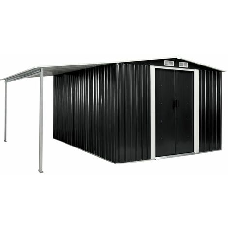 Garden Shed with Sliding Doors Anthracite 386x312x178 cm Steel