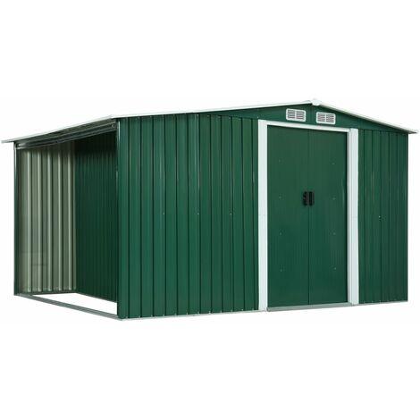 Garden Shed with Sliding Doors Green 329.5x131x178 cm Steel