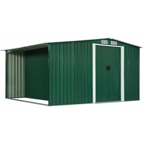 Garden Shed with Sliding Doors Green 329.5x312x178 cm Steel