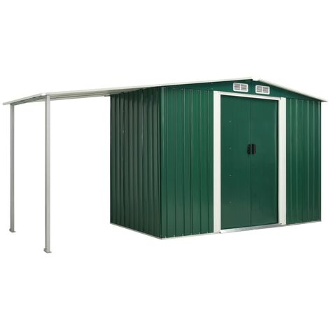 Garden Shed with Sliding Doors Green 386x131x178 cm Steel