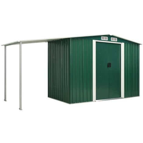 Garden Shed with Sliding Doors Green 386x131x178 cm Steel
