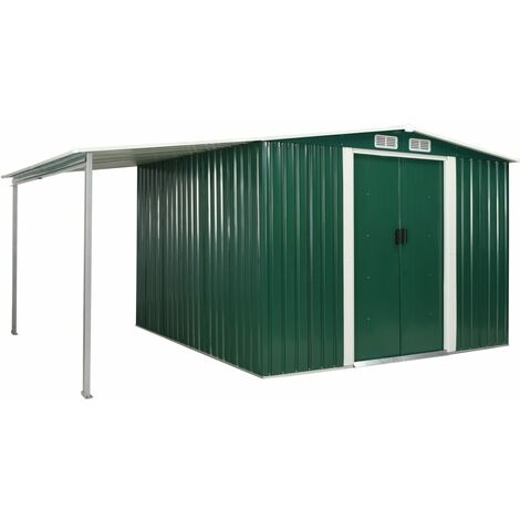 Garden Shed with Sliding Doors Green 386x259x178 cm Steel
