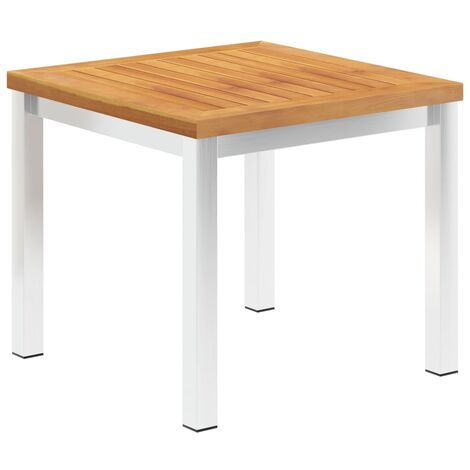 Garden Side Table 45x45x38 cm Solid Acacia Wood and Stainless Steel