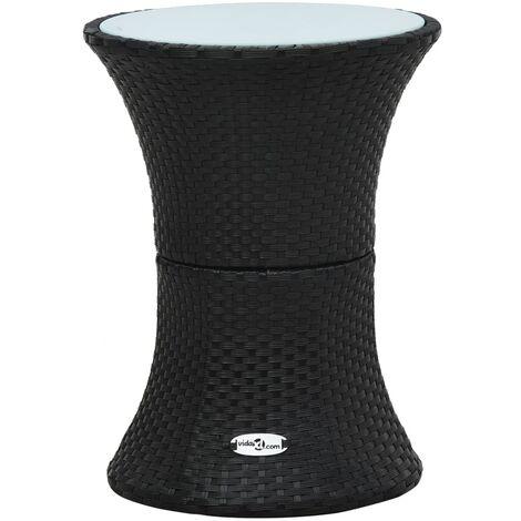 Garden Side Table Drum Shape Black Poly Rattan