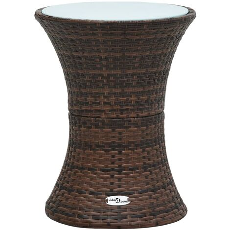 Garden Side Table Drum Shape Brown Poly Rattan