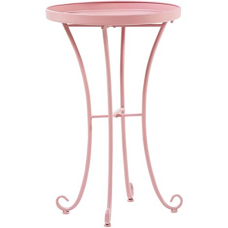 "main image of ""Garden Side Table Pink Vintage Metal Round 40 cm Cavinia"""