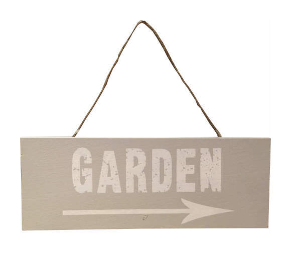 Image of Garden Sign with Arrow in Light Grey & White