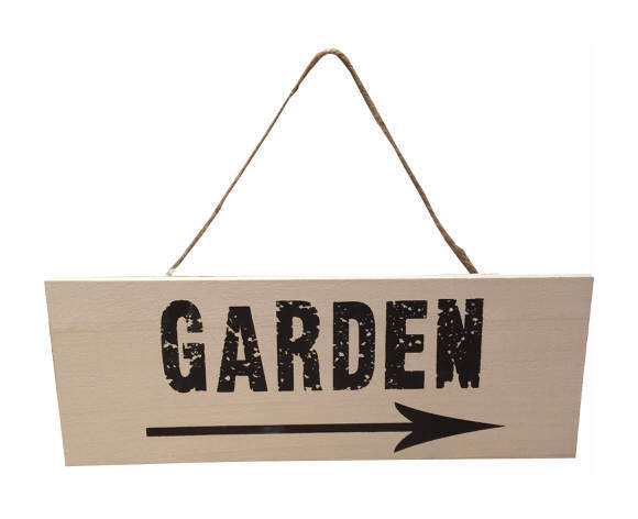 Image of Garden Sign with Arrow in Stone & Brown