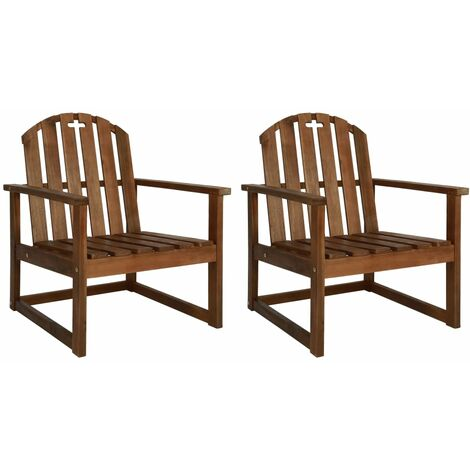 Garden Sofa Chairs 2 pcs Solid Acacia Wood