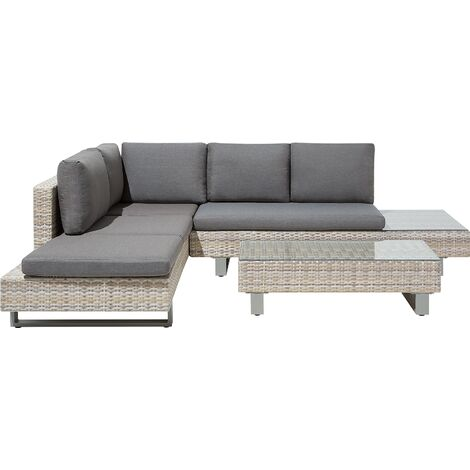 """main image of """"Garden Sofa Set 5 Seater Adjustable Coffee Table with Grey Cushions Lanciano"""""""