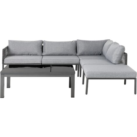 "main image of ""Garden Sofa Set Black Frame Grey Cushions Coffee Table Lift Top 6 Seater Forano"""