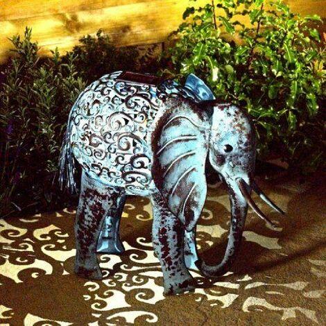 Garden Solar Powered Metal Elephant Decorative Silhouette Scroll LED Light