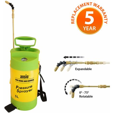 Garden Sprayer Pressure Sprayer with Lance 5L Pump Action, Ideal with Weed killer, Pesticides, Herbicides, Insecticides, Fungicides - Water Pump Sprayer - 5 Year Replacement Warranty