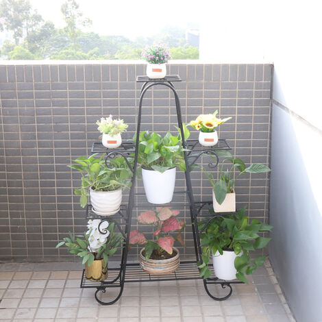 Garden Stand Rustic Cast Iron Metal Plant Stand Pot Rack Multi Holder Deck Black