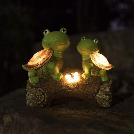 """main image of """"Garden Statue Turtles Figurine - Cute Frog Face Turtles Animal Sculpture with Solar LED Lights for Indoor Outdoor Winter Decorations, Patio Yard Lawn Ornaments Gift, 10.2 x 8.5 Inch"""""""
