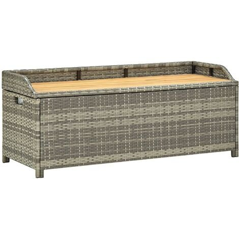 Garden Storage Bench 120 cm Poly Rattan Grey - Grey