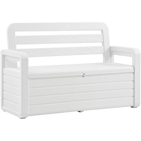 Garden Storage Bench 132.5 cm Plastic White