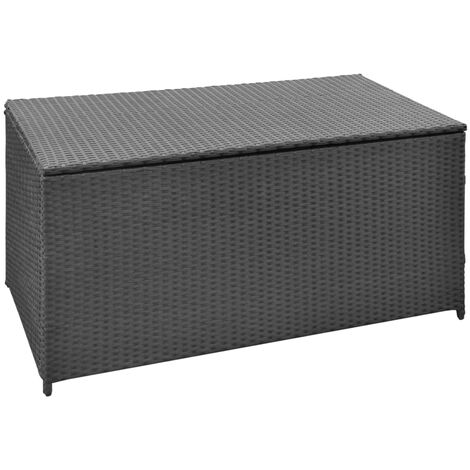 Garden Storage Box Black 120x50x60 cm Poly Rattan