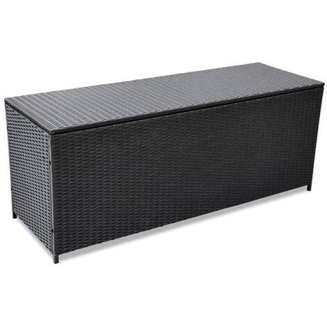 "main image of ""Garden Storage Box Black 150x50x60 cm Poly Rattan30623-Serial number"""