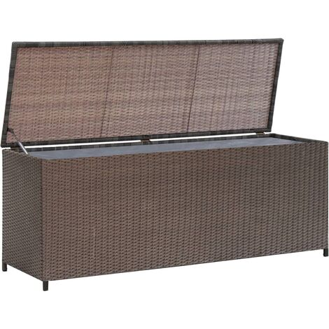 Garden Storage Box Brown 120x50x60 cm Poly Rattan