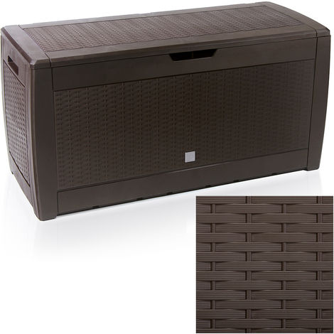 Garden Storage Box Cushion Chest 310 L Rattan or Brick Design Colour Choice 117 x 59 x 48 cm