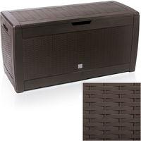 Garden Storage Box Cushion Chest 310 L Rattan or Brick Design Colour Choice 117 x 59 x 48 cm