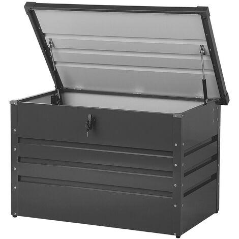 Garden Storage Box Dark Grey Steel Lockable Lid 300L Cebrosa