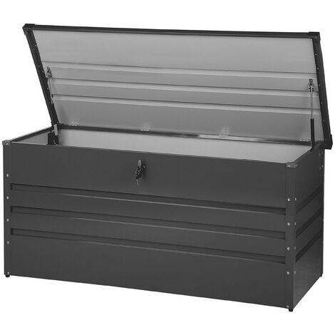 "main image of ""Garden Storage Box Dark Grey Steel Lockable Lid 400L Cebrosa"""