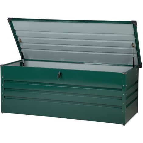 "main image of ""Garden Storage Box Green Steel Lockable Lid 600L Cebrosa"""