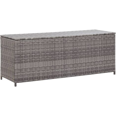 Garden Storage Box Grey 120x50x60 cm Poly Rattan